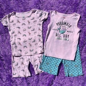 Lot of 2 girls carters pajamas